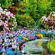 Butchart Gardens In The Rain Art Print