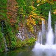 Butchart Waterfall And Fountain-- Art Print