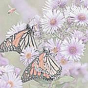 Butterflies And Bee Art Print
