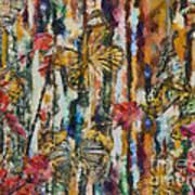 Butterflies In Plum Blossoms And Texture Art Print
