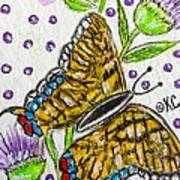 Butterfly And Thistles Art Print