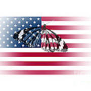 Butterfly Embedded With Usa National Flag Art Print