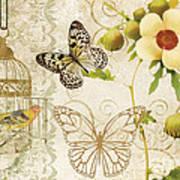 Butterfly Green Collage Art Print by Grace Pullen