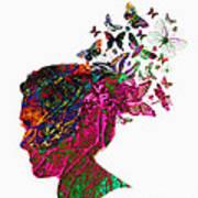 Butterfly Hair Art Print