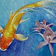 Butterfly Koi With Orchids Art Print by Michael Creese