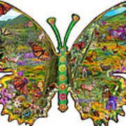 Butterfly Meadow Green Art Print