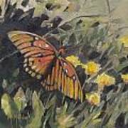 Butterfly Meadow With Yellow Flowers Art Print