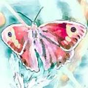Butterfly On Flower 1 Art Print