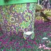 Butterfly Park Garden Painted Green Theme Art Print