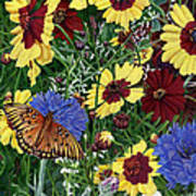 Butterfly Wildflowers Garden Oil Painting Floral Green Blue Orange-2 Art Print