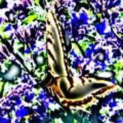 Butterfly With Purple Flowers 4 Art Print
