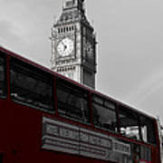 Bw Big Ben And Red London Bus Art Print