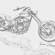Bw Gator Motorcycle Art Print by Louis Ferreira