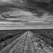 Bxw Gravel Vanishing Point Art Print