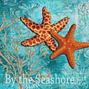 By The Sea Shore Original Coastal Painting Colorful Starfish Art By Megan Duncanson Print by Megan Duncanson
