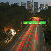 Ca 110 Pasadena Freeway Downtown Los Angeles At Night With Car Lights Streaking_2 Art Print