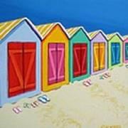 Cabana Row - Colorful Beach Cabanas Art Print