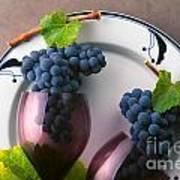 Cabernet Grapes And Wine Glasses Art Print