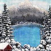Cabin By The Lake - Winter Art Print by Barbara Griffin