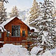 Cabin In Snow Art Print