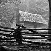 Cabin In The Fog Art Print by Julie Dant