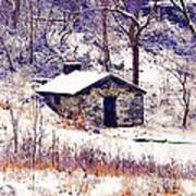 Cabin In The Snow Art Print