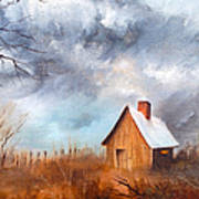 Cabin With Fence Art Print