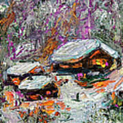 Cabins In The Snow Modern Expressionism Art Print