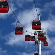 Red Line Cable Car Gondolas Bolivia Art Print
