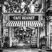 Cafe Beignet Morning Nola - Bw Art Print