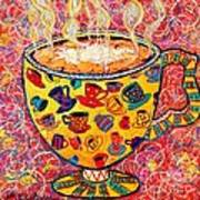 Cafe Latte - Coffee Cup With Colorful Coffee Cups Some Pink And Bubbles  Art Print