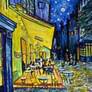 Cafe Terrace At Night Art Print
