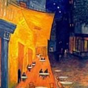 Cafe' Terrace At Night  Art Print