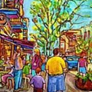 Cafes In Springtime Art Print