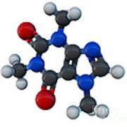 Caffeine Molecular Model Art Print
