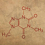 Caffeine Molecule Coffee Fanatic Humor Art Poster Art Print