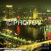 Cairo And The Nile River At Night - Egypt Art Print