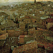 Calahorra Roofs From The Bell Tower Of Saint Andrew Church Art Print