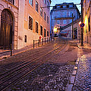 Calcada Da Gloria Street At Dusk In Lisbon Art Print