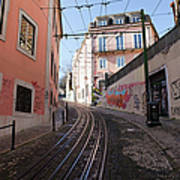 Calcada Da Gloria Street In Lisbon Art Print