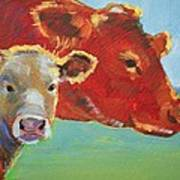 Calf And Cow Painting Art Print