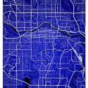 Calgary Street Map - Calgary Canada Road Map Art On Colored Back Art Print