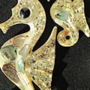 California Mid Century Modern Abalone Sea Horses Art Print