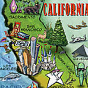 California Cartoon Map Art Print