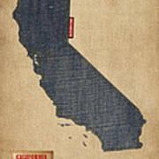 California Map Denim Jeans Style Art Print by Michael Tompsett