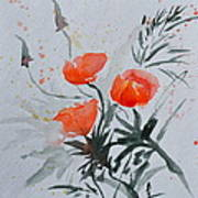 California Poppies Sumi-e Art Print by Beverley Harper Tinsley