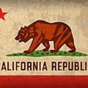 California State Flag Art On Worn Canvas Art Print by Design Turnpike