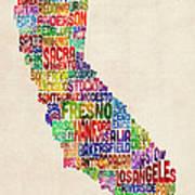 California Typography Text Map Art Print