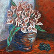 Calla Lilies And Frog Art Print