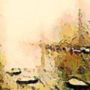 Calm River Foggy Day Art Print